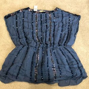 Anthropologie blue Grecian style blouse. NWT